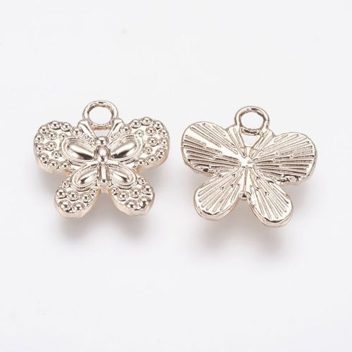 Alloy Light Gold Butterfly Pendants (2)